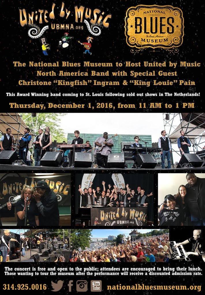 """Press Release: The National Blues Museum to Host United by Music North America Band with Special Guest Christone """"Kingfish"""" Ingram!"""